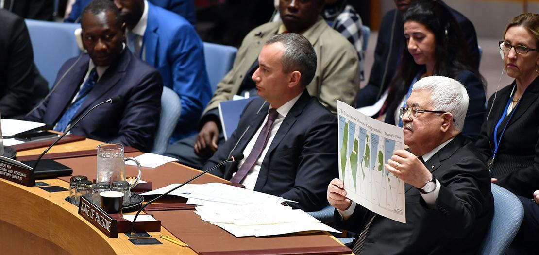 الرئيس عباس خلال إلقاء كلمته أمام مجلس الأمن الدولي في نيويورك (عدسة: ثائر غنايم - وفا)