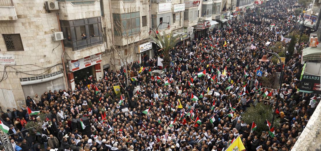 الآلاف من الفلسطينيين يشاركون في المهرجان المندد بصفقة القرن، 11 شباط 2020 (عدسة: عدي دعيبس / وفا)