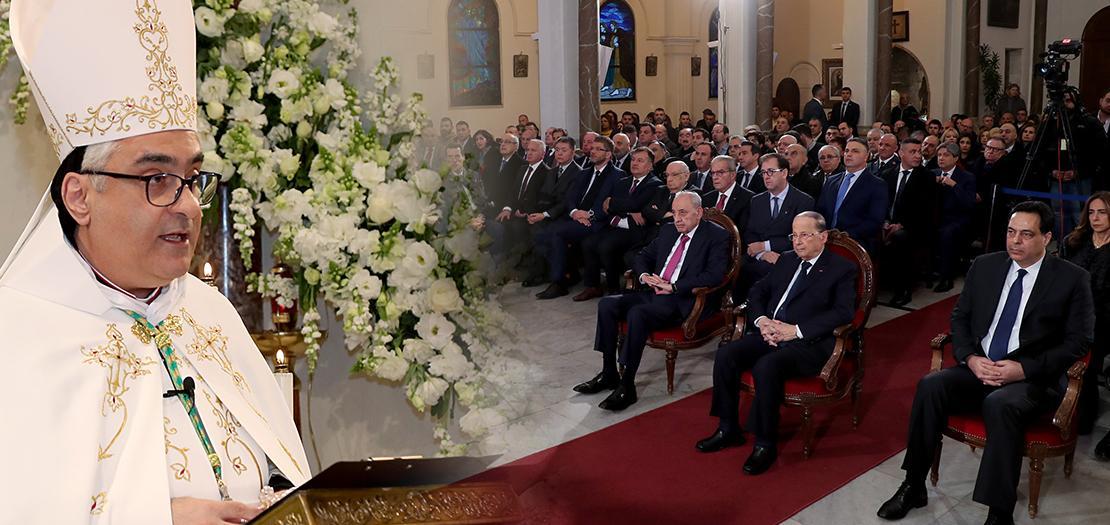 المطران بولس عبد الساتر خلال ترؤسه القداس الإلهي في عيد مار مارون