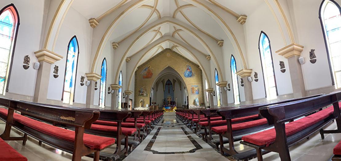 كنيسة سيدة البشارة للاتين في منطقة اللويبدة بالعاصمة الأردنية عمان (تصوير: سورين خودانيان)