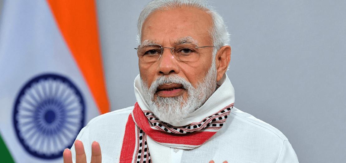 صورة وزعها مكتب الإعلام الهندي لرئيس الوزراء القومي الهندوسي ناريندرا مودي في 14 نيسان 2020