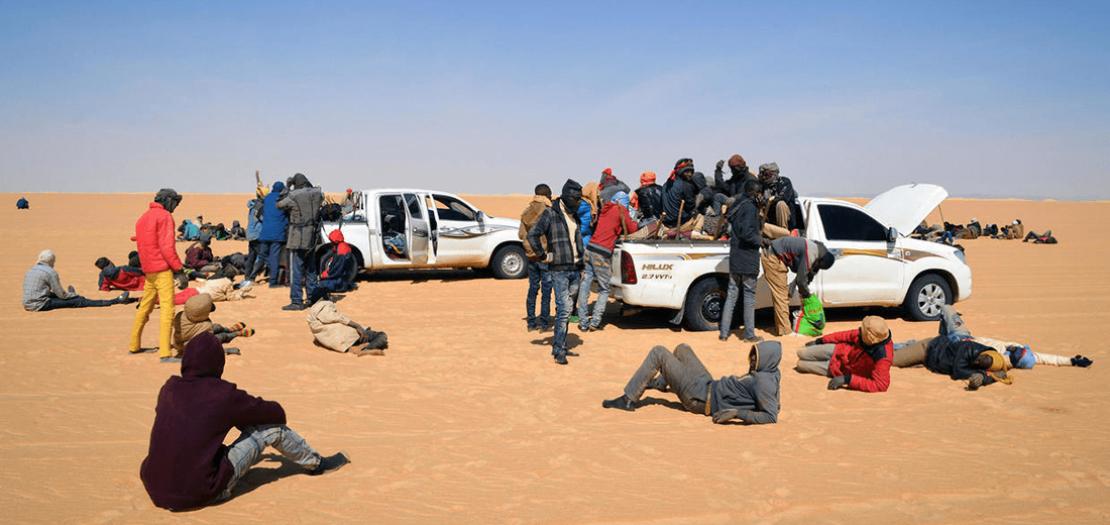 مجموعة مهاجرين في الصحراء شمال النيجر في 22 كانون الثاني 2019
