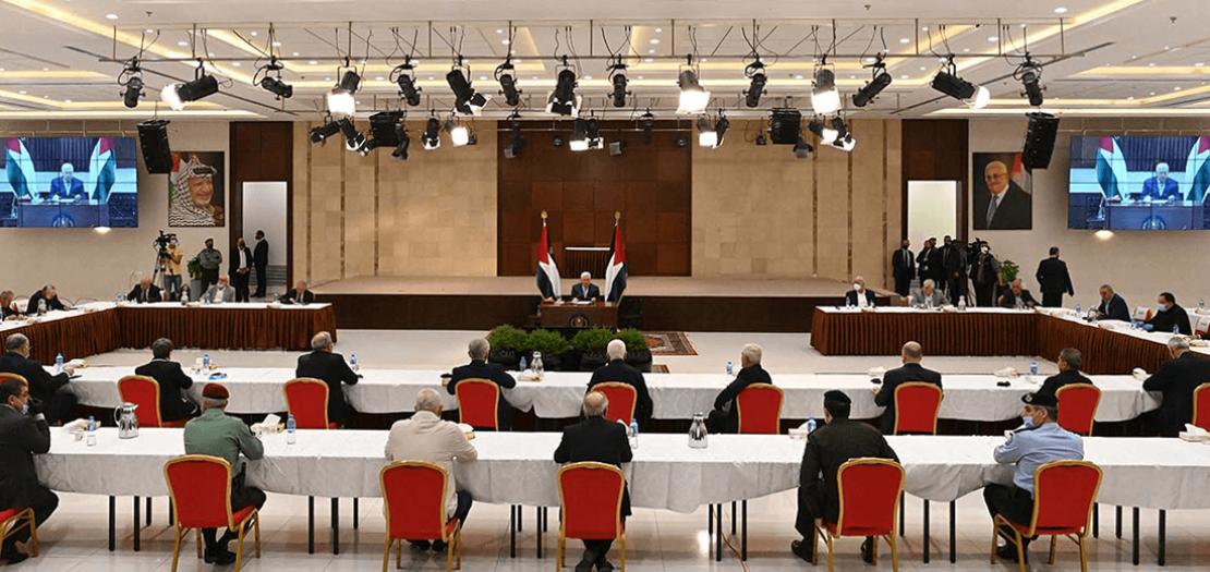 الرئيس محمود عباس خلال ترؤسه اجتماع القيادة الفلسطينية (وفا)