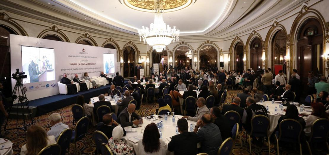 """منظر عام للجلسة الافتتاحية للمؤتمر الدولي: """"الإعلام ودوره في الدفاع عن الحقيقة"""""""