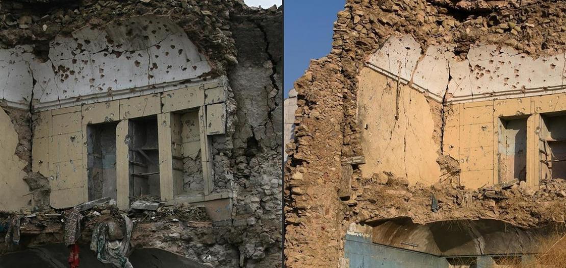 صورة مركبة لمبنى مدمر في مدينة الموصل في 26 كانون الأول 2018 (يسار) والمبنى نفسه في 2 تموز 2020