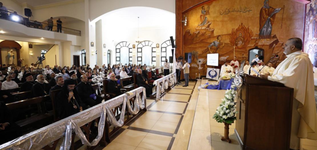 الأب رفعت بدر يلتقي كلمة الشكر في ختام قداس الاحتفال بيوبيله الفضي الكهنوتي، 2 تموز 2020 (تصوير: أبونا)