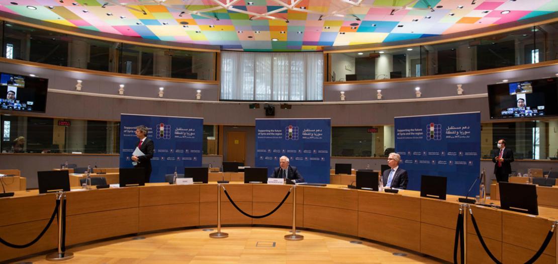 وزير خارجية الاتحاد الأوروبي جوزيب بوريل يلقي كلمته خلال مؤتمر بروكسل حول سوريا، 30 حزيران 2020