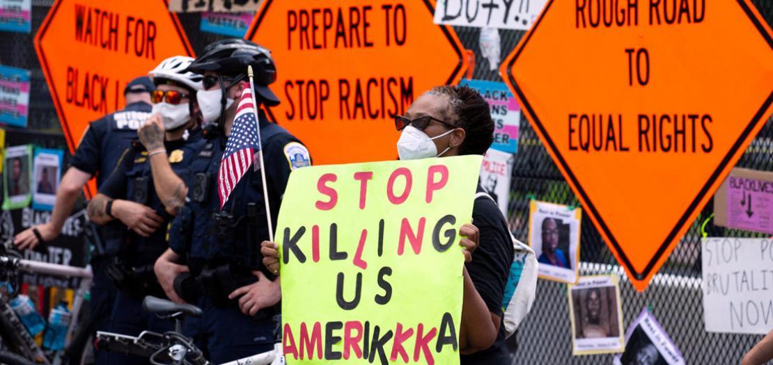 متظاهرة مناهضة للعنصرية في واشنطن، 4 تموز 2020