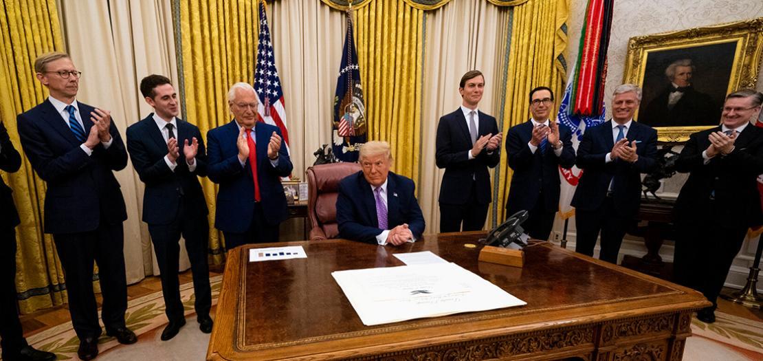 الرئيس الأميركي دونالد ترمب خلال إعلانه عن الاتفاق الإماراتي الإسرائيلي في البيت الأبيض