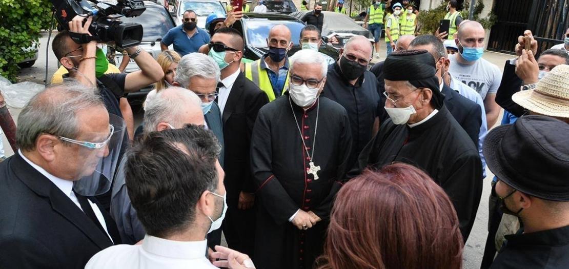 جانب من جولة البطريرك الراعي التفقدية لكنائس وأحياء بيروت المنكوبة، 26 آب 2020
