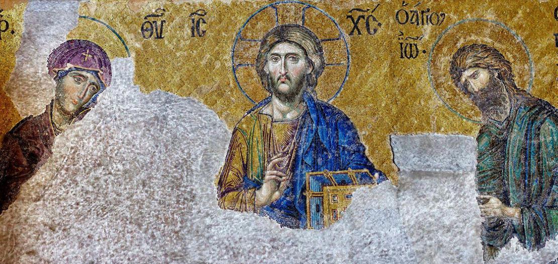 فسيفساء الشفاعة Deisis، والتي تبيّن الربّ يسوع المسيح في الوسط، وعن يمينه والدة الإله وعن يساره القدّيس يوحنا المعمدان