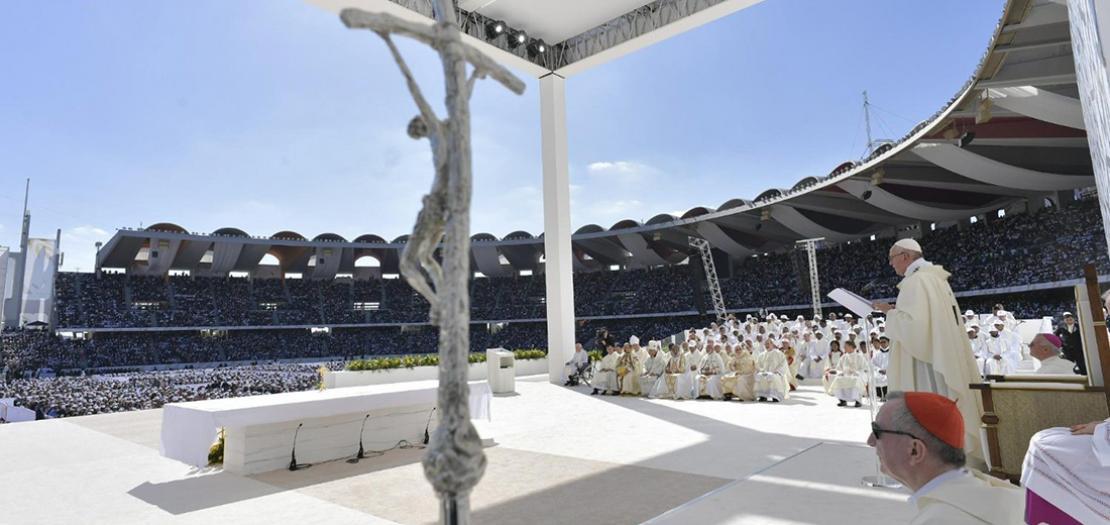 البابا فرنسيس مترئسًا القداس الإلهي في أبوظبي، 5 شباط 2019