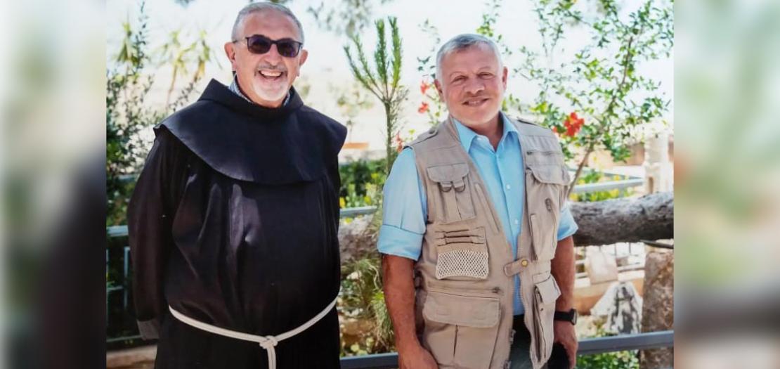 الملك عبدالله الثاني والأب رافائيلي كابوتو، حزيران 2020
