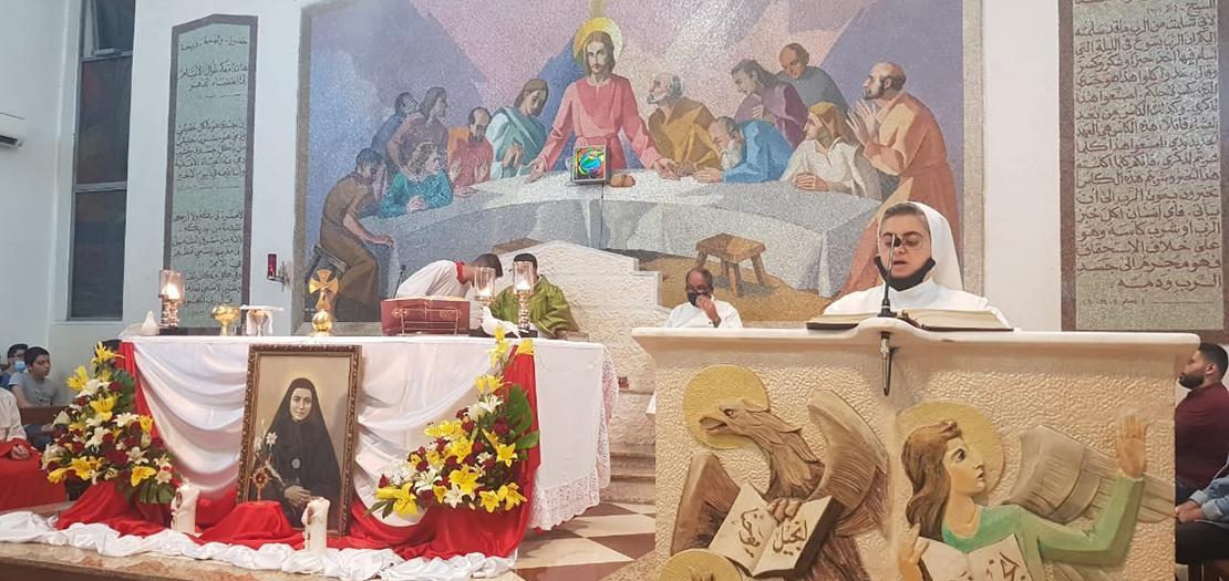 رعية اللاتين في الزرقاء الشمالي تحتفل بعيد القديسة برتيلا، تشرين الأول 2020 (تصوير: نضال مرجي/أبونا)