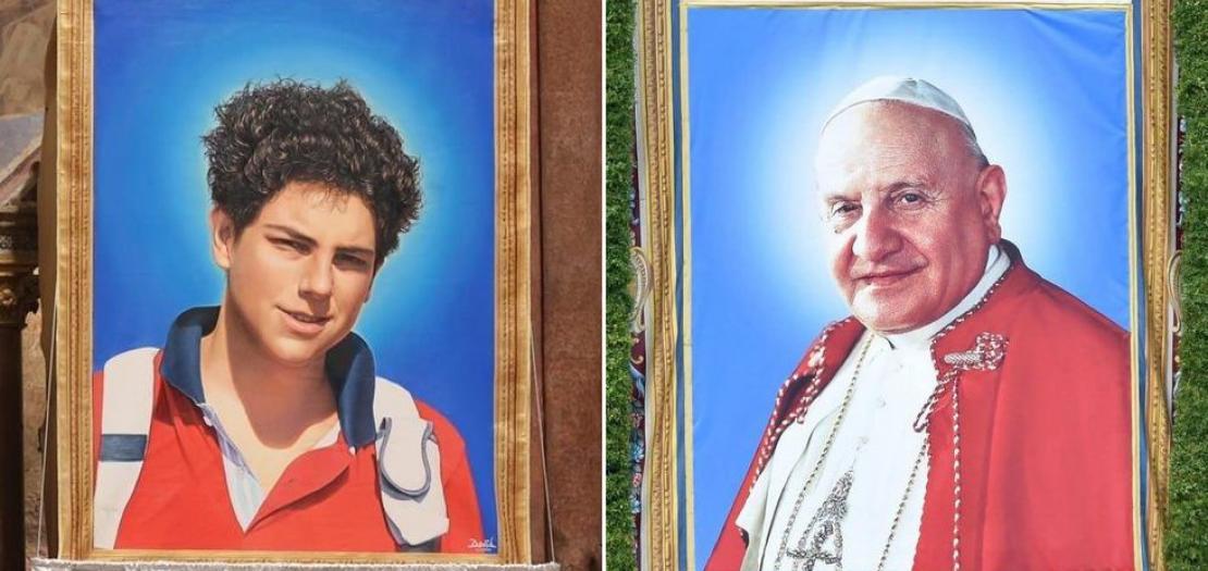 القديس البابا يوحنا الثالث والعشرون (يمين) والطوباوي كارلو أكوتيس