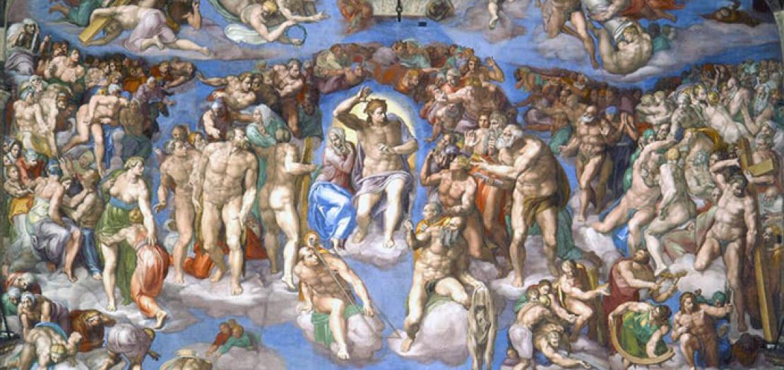 الدينونة العامة للفنان الايطالي مايكل انجلو (واجهة الكابيلّا سيستينا في روما)