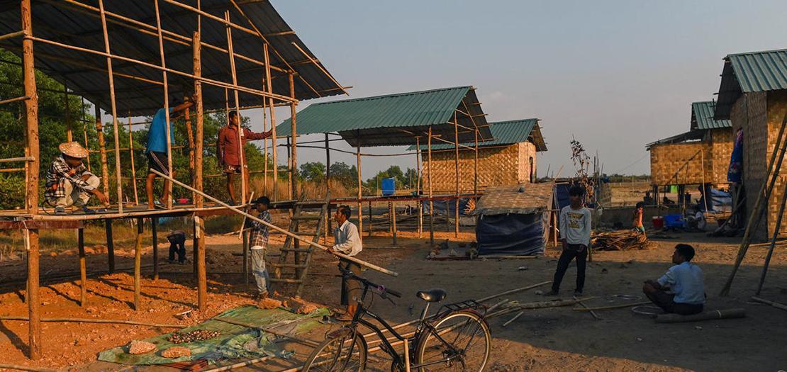 صورة مؤرخة في 11 كانون الثاني 2021 تظهر جزءًا من قرية إتنية تشين الجديدة في رانغون
