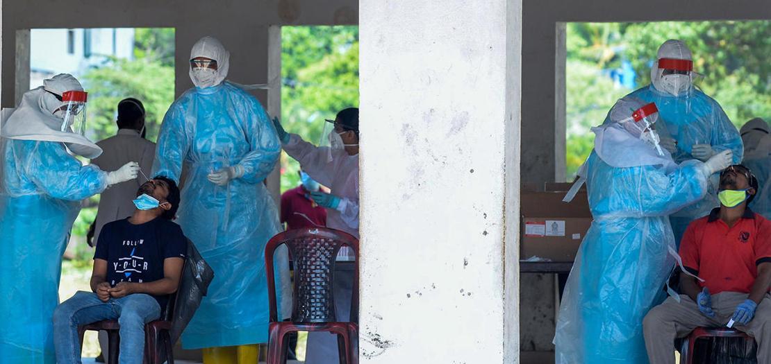 مركز لإجراء فحوص الكشف عن الإصابة بكوفيد-19 في كولومبو، 5 تشرين الثاني 2020