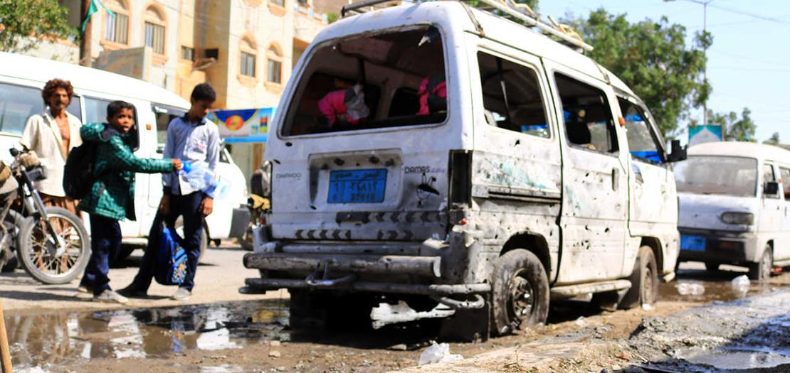 صورة من موقع الحادث في الحديدة اليمنية في 2 كانون الثاني 2021