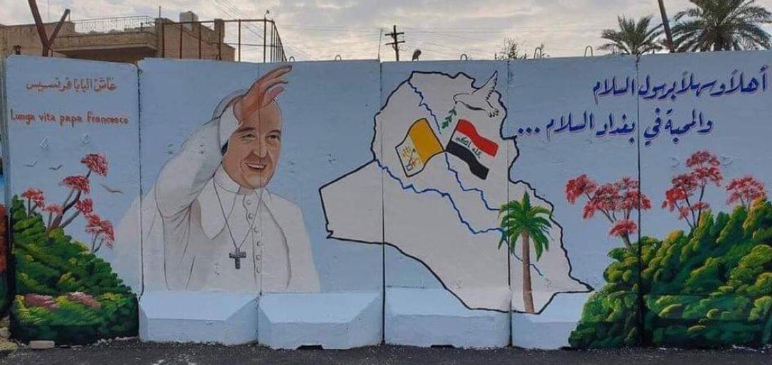 جدارية ترحيبية في العاصمة العراقية بغداد بزيارة البابا فرنسيس