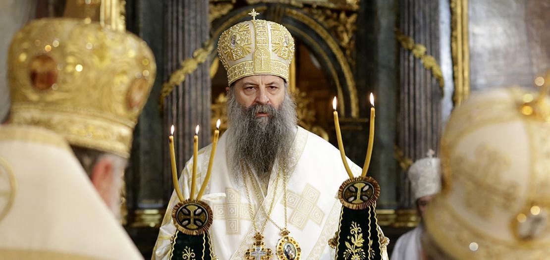 بورفيريوس، البطريرك الـ46 للكنيسة الصربيّة الأرثوذكسيّة، خلال احتفال تنصيبه في بلغراد