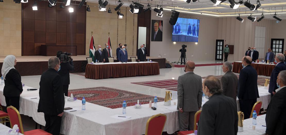 الرئيس محمود عباس لدى ترؤسه اجتماع القيادة الفلسطينية في رام الله، 29 نيسان 2021