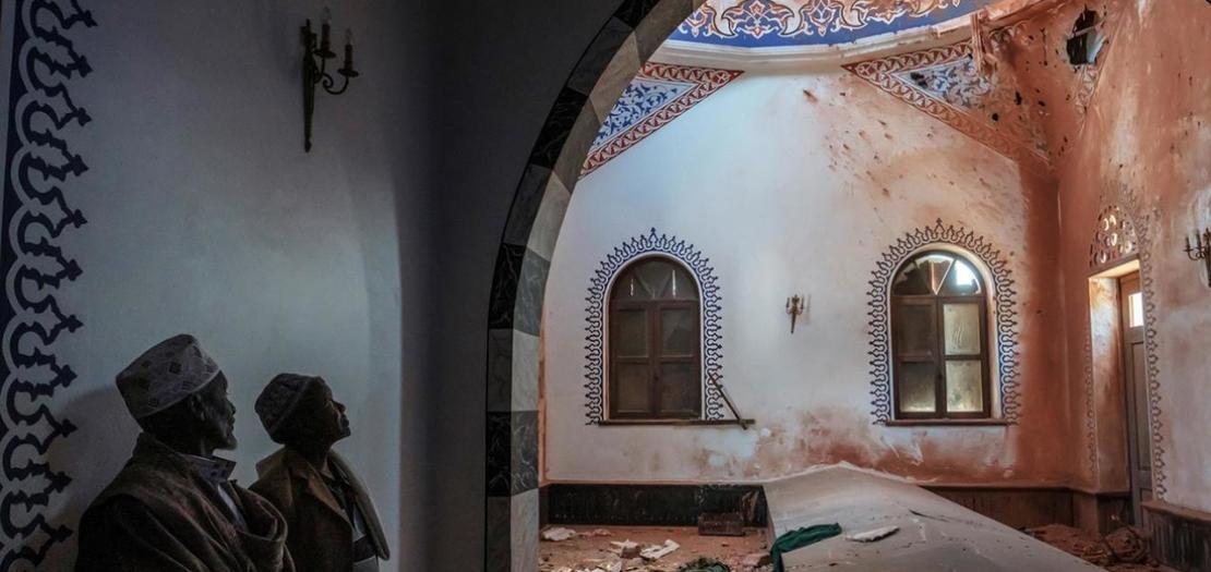 صورة مؤرخة في 1 آذار 2021 من داخل مسجد النجاشي في تيغراي
