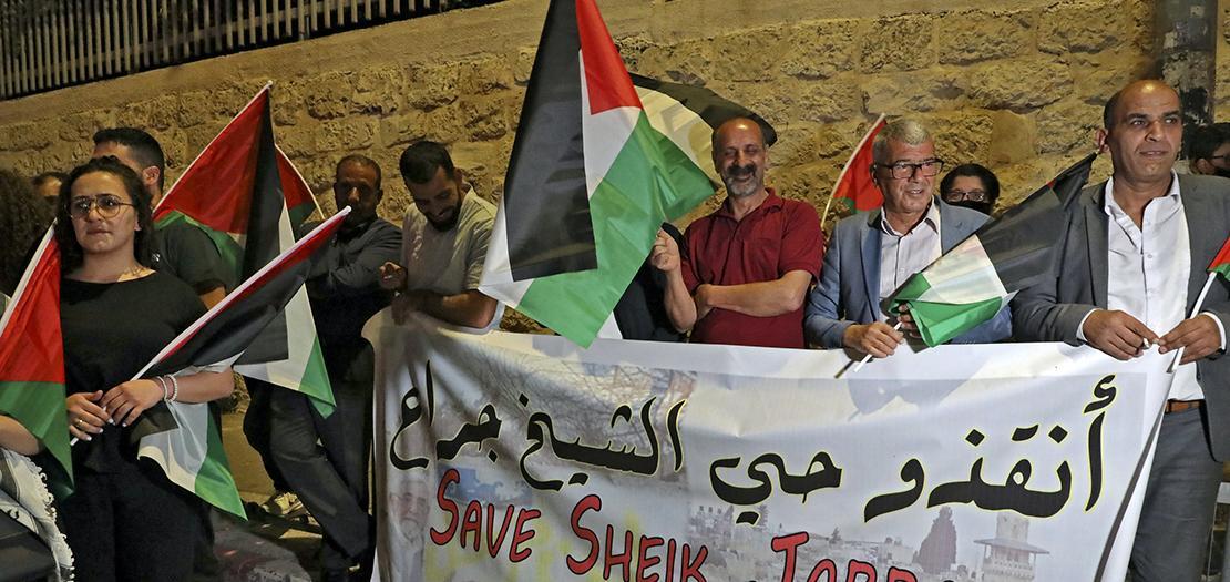 السكان المهددين بالطرد في حي الشيخ جراح في القدس الشرقية المحتلة