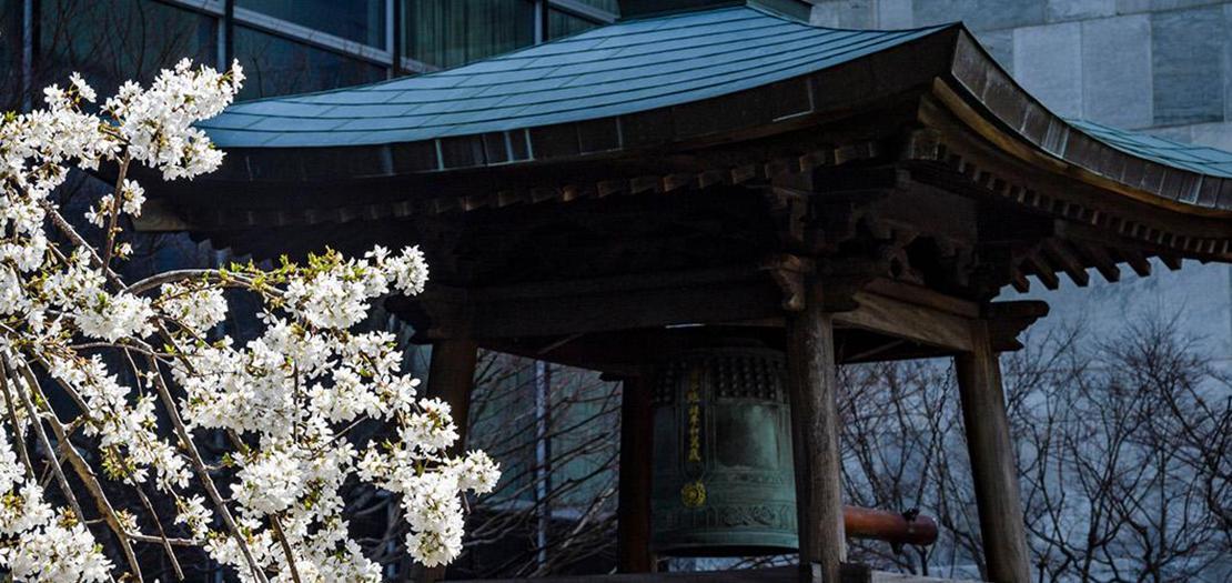 تبرعت رابطة الأمم المتحدة في اليابان بجرس السلام في عام 1954. وأصبح من المعتاد قرع الجرس مرتين في السنة: في أول أيام الربيع، ما يسمى يوم الاعتدال الربيعي، وفي يوم 21 أيلول للاحتفال باليوم الدولي للسلام
